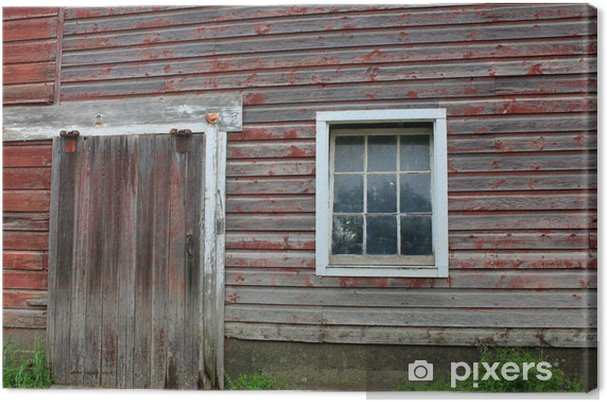 Obraz na płótnie Stodoła czerwony i szary - Krajobraz wiejski