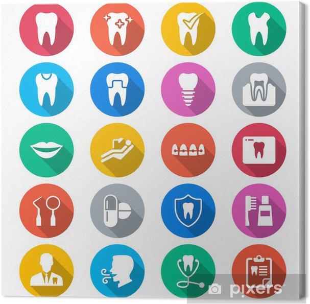 Obraz na płótnie Stomatologiczne płaskie kolorowe ikony - Znaki i symbole