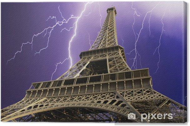 Obraz na płótnie Storm over Wieży Eiffla w Paryżu - Klęski żywiołowe