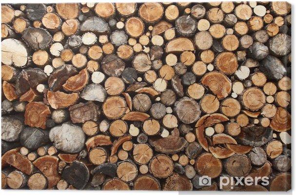 Obraz na płótnie Stos posiekaną drewna na opał - iStaging