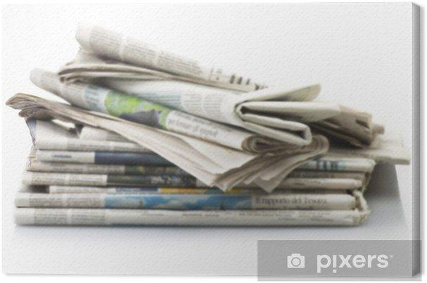 Obraz na płótnie Stos Różnych gazet nad białym tłem. - Sprzedaż