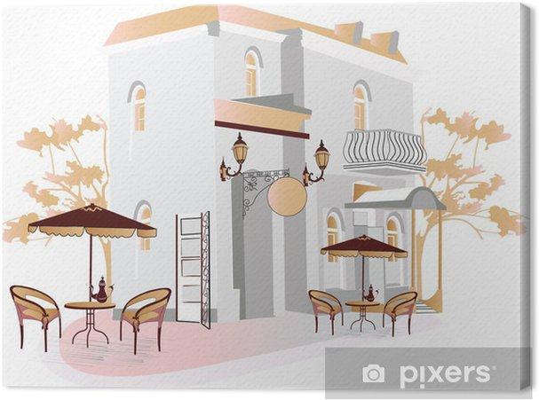 Obraz na płótnie Street Cafe - Pejzaż miejski