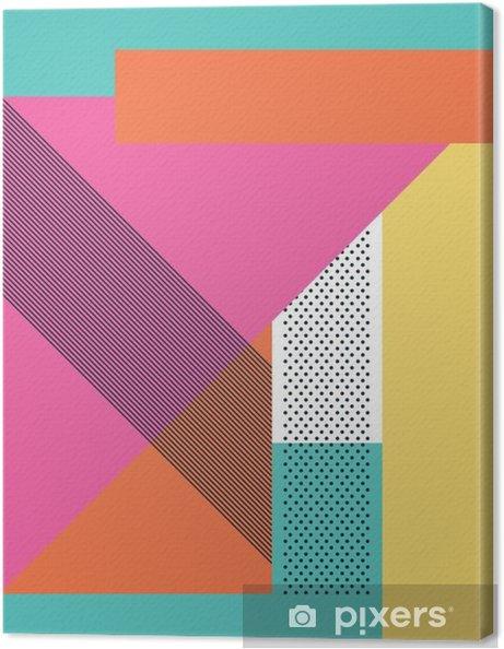 Obraz na płótnie Streszczenie 80s retro tło z geometrycznych kształtów i wzoru. Materiał wzór tapety. - Zasoby graficzne