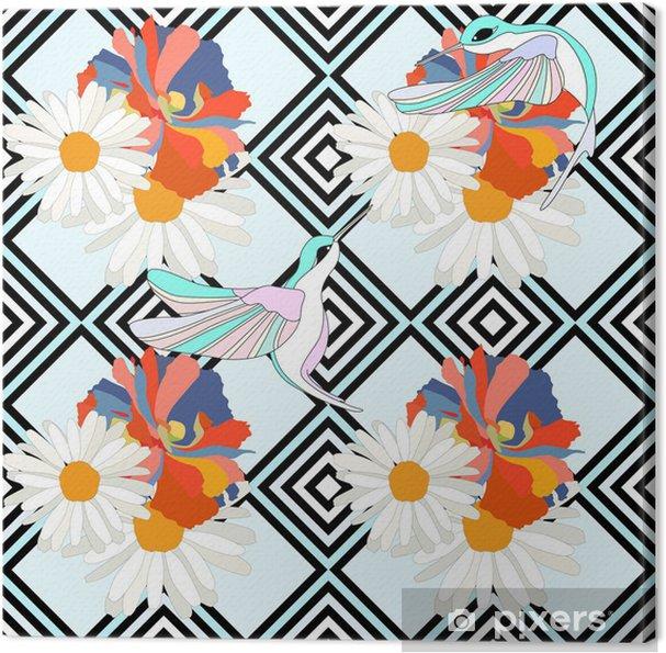 Obraz na płótnie Streszczenie ilustracji ptaków (kolibry) na kwiaty, paski tło, projektowanie mody, bez szwu wzór - Tekstury