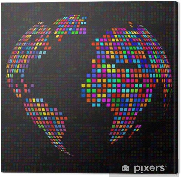 Obraz na płótnie Streszczenie kuli ziemskiej z kolorowych pikseli. Wektor - Zasoby graficzne