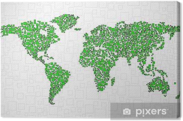 Obraz na płótnie Streszczenie mapa świata z kwadratów, styl tle - Zasoby graficzne