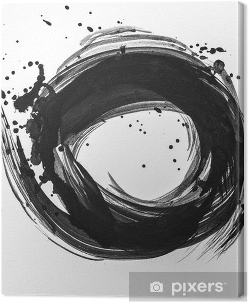 Obraz na płótnie Streszczenie pociągnięcia pędzlem i plamy farby na białym papierze. akwarela tekstury do kreatywnych tapet lub prac projektowych, czarno-białe kolory .. - Hobby i rozrywka