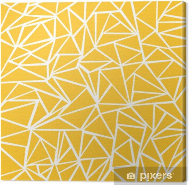Obraz na płótnie Streszczenie żółta musztarda, białe wzory geometryczne i trójkąt na tekstury tła. - Zasoby graficzne