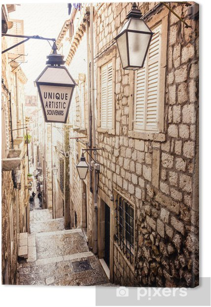 Obraz na płótnie Strome schody i wąska uliczka na Starym Mieście w Dubrowniku - iStaging