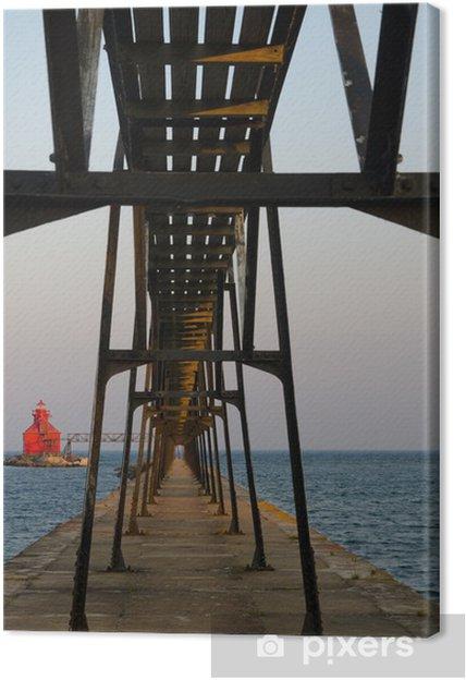 Obraz na płótnie Sturgeon Bay Ship Canal Pierhead latarnia morska, Wisconsin, USA - Ameryka