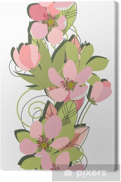 Obraz na płótnie Stylizowane gałąź jabłoni na białym tle - Jabłonie