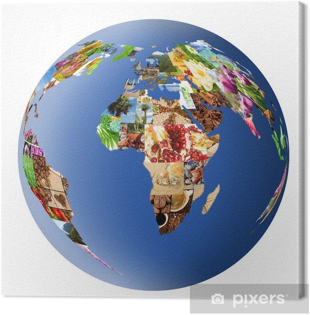 Obraz na płótnie Stylizowany globus z wielu zdjęć - Wakacje