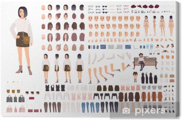 5938c5e214f3cf Obraz na płótnie Stylowy zestaw do tworzenia młodej kobiety lub zestaw  animacyjny. wiązka części ciała, modne ubrania, fryzury, mimika. postać z  kreskówki ...