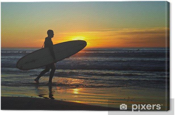Obraz na płótnie Surfer Na Zachód Słońca - Woda