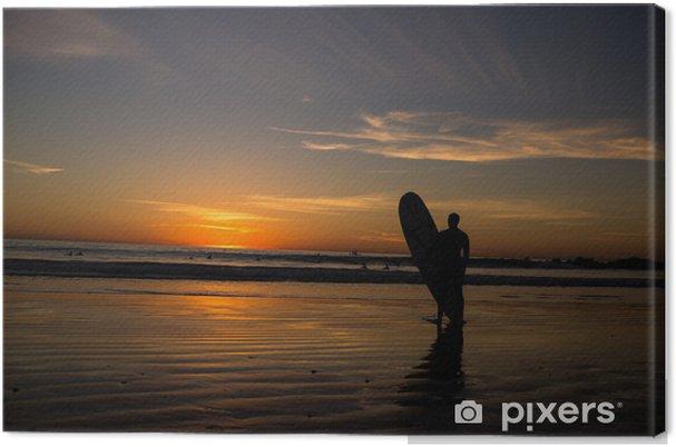 Obraz na płótnie Surfer stać z surfowania pokładzie o zachodzie słońca - Sporty indywidualne