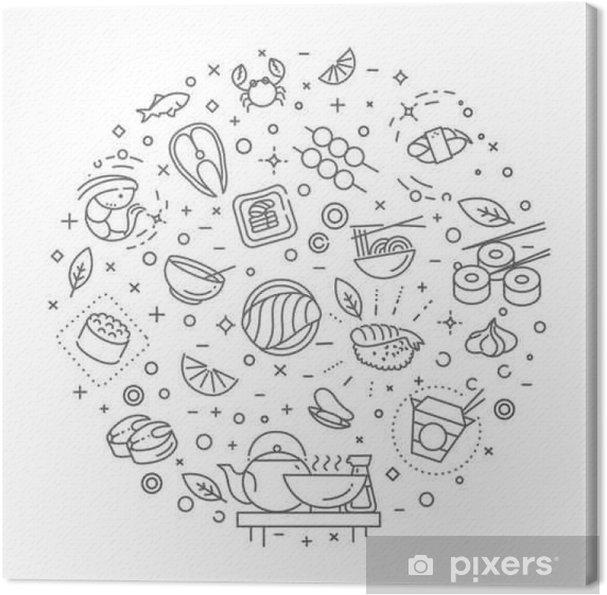 Obraz na płótnie Sushi, owoce morza symbole konspektu. ilustracji wektorowych - Jedzenie