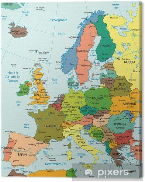 Obraz na płótnie Świat Ziemia Kontynent Europa map Kraj - Tematy