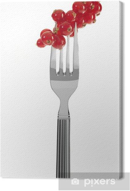 Obraz na płótnie Świeże czerwone porzeczki na widelcu - Owoce