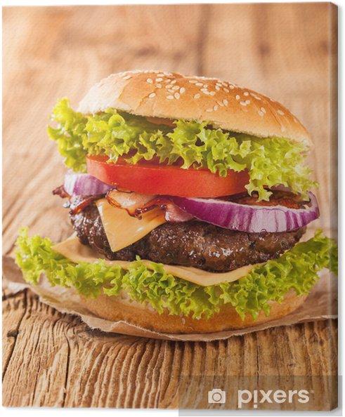 Obraz na płótnie Świeże hamburger na drewnianych desek - Tematy