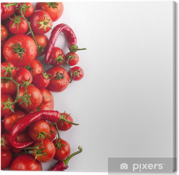 Obraz na płótnie Świeże pomidory i papryka z kropli wody - Tematy