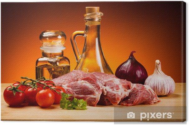 Obraz na płótnie Świeże surowe mięso wieprzowe na pokładzie rozbioru - Posiłki