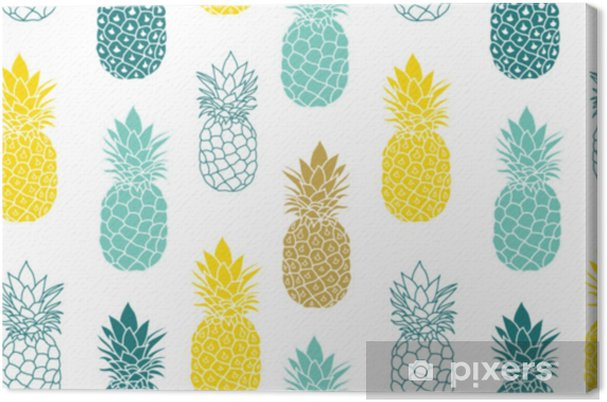 Obraz na płótnie Świeży niebieski żółty ananasy wektor powtórzyć bezszwowe pattrern w kolorach szarym i żółtym. doskonały do tkanin, opakowań, tapet, zaproszeń. - Jedzenie