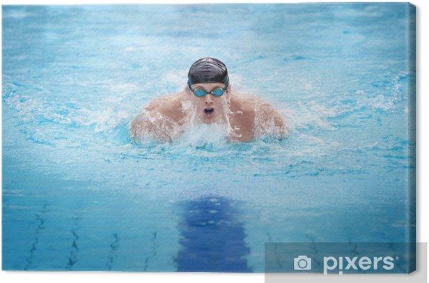 Obraz na płótnie Swimmer w oddychaniu cap wykonywania skoku motyl - Zdrowie