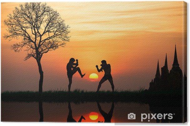 Obraz na płótnie Sylwetka boksu tajskiego na zachód słońca - Boks