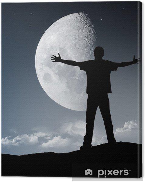 Obraz na płótnie Sylwetka człowieka przed księżycem - Wolność
