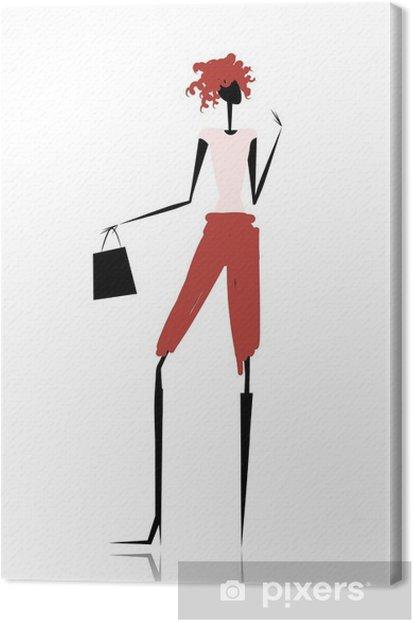 Obraz na płótnie Sylwetka dziewczyny mody z torby na zakupy - Moda