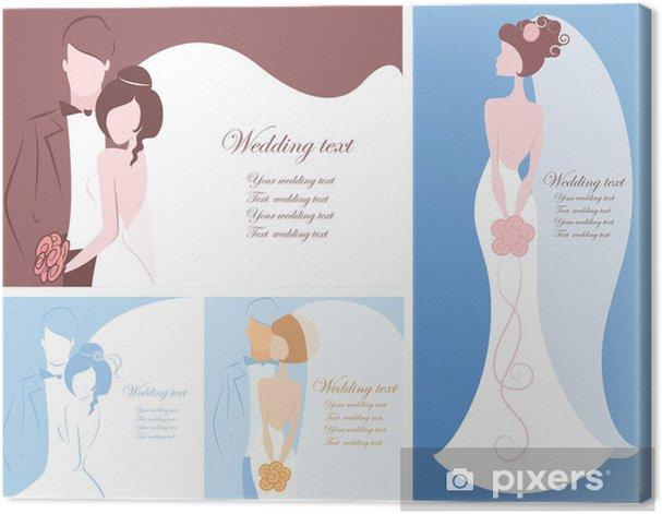 Obraz na płótnie Sylwetka młodej pary, tło, zestaw zaproszenie na ślub - Świętowanie