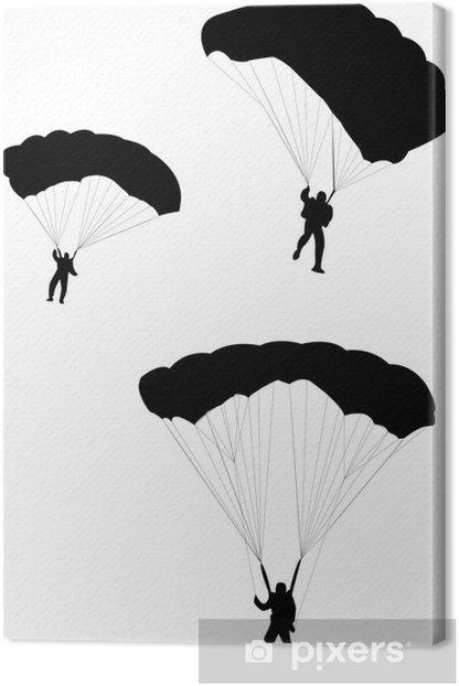 Obraz na płótnie Sylwetka niebo nurek z otwartą spadochronu - wektor - Sporty indywidualne
