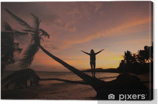 Obraz na płótnie Sylwetka palmy na wschodzie słońca, plaży Las Galeras - Ameryka
