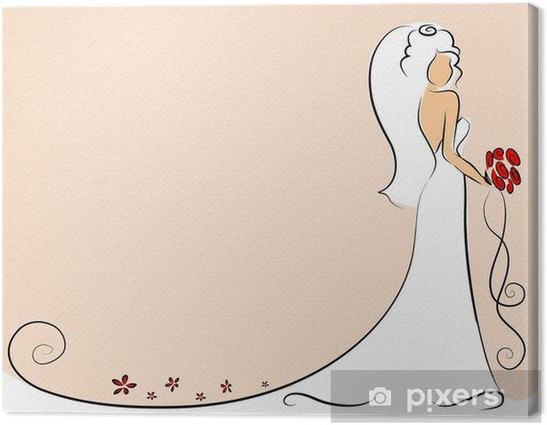 Obraz na płótnie Sylwetka panny młodej, tło, zaproszenie na ślub, wektor - Świętowanie