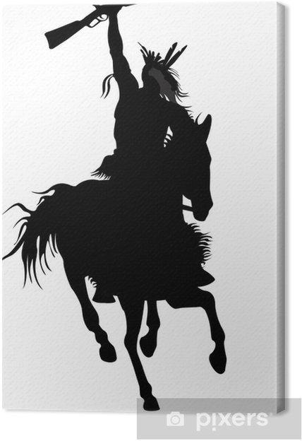Obraz na płótnie Sylwetka wojownik indian na koniu z bronią - Rozrywka