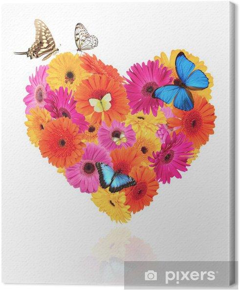 Obraz na płótnie Symbol serca z kwiatów Gerber z motylami - Kwiaty