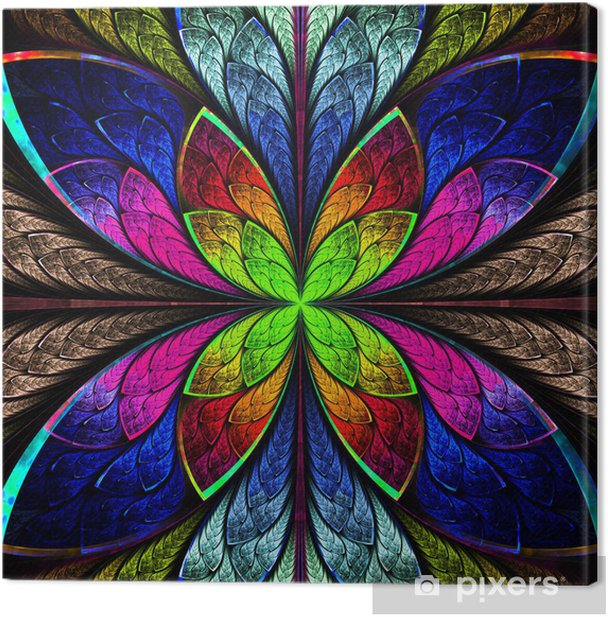 Obraz na płótnie Symetryczne wielokolorowy fraktal kwiat w stylu barwionego szkła. Co - Tła