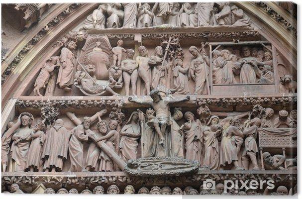 Obraz na płótnie Szczegóły Katedra w Strasburgu Main Entrance - Europa