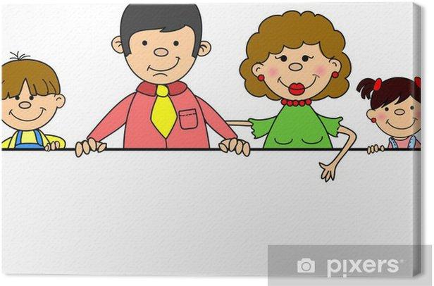 Obraz na płótnie Szczęśliwa rodzina trzyma sztandar - Znaki i symbole