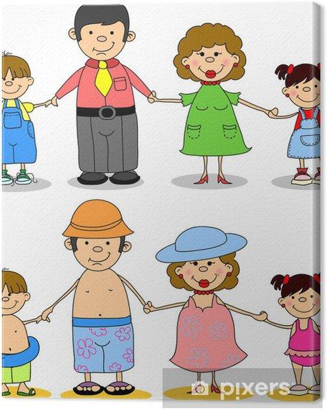 Obraz na płótnie Szczęśliwa rodzina trzymając się za ręce w morzu - Wakacje