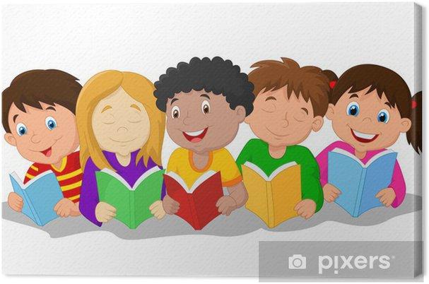 Obraz na płótnie Szczęśliwe dzieci leżącego na podłodze podczas czytania książek - Dzieci