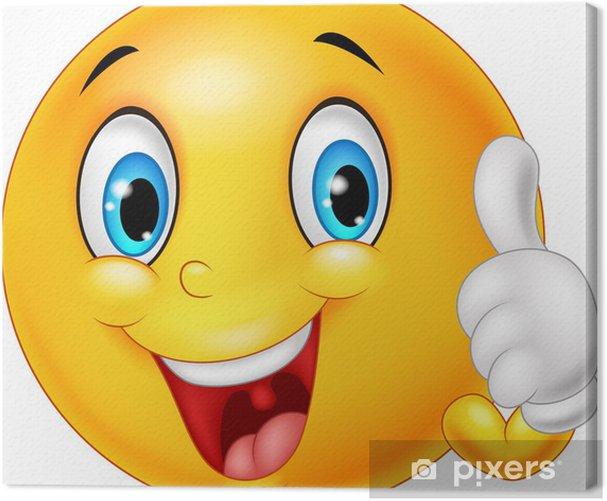 Obraz na płótnie Szczęśliwy emoticon dając kciuk w górę na białym tle - Znaki i symbole