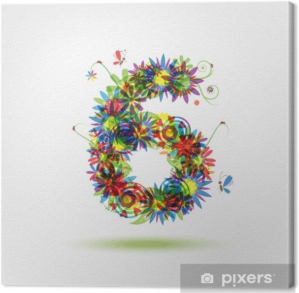 Obraz na płótnie Sześć, liczba kwiatów dla projektu - Znaki i symbole