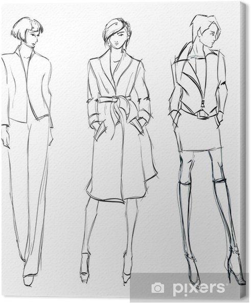 Obraz na płótnie Szkic. dziewczyna mody. modelka ręcznie rysowane - Moda