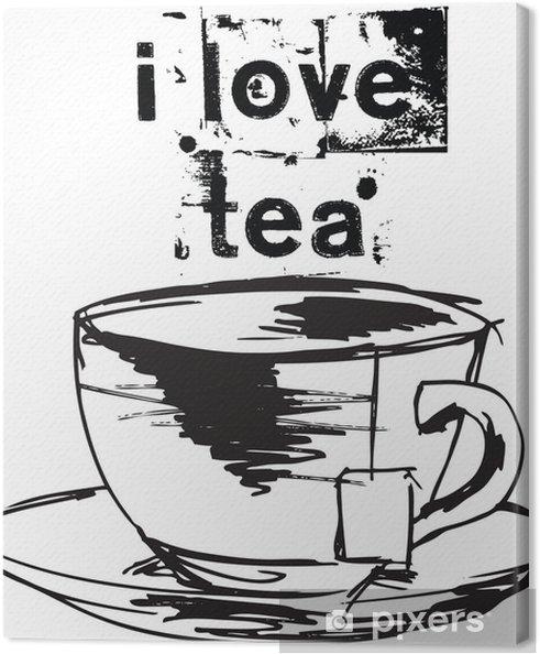 Obraz na płótnie Szkic filiżankę herbaty z torebkę. Ilustracji wektorowych - Akcesoria