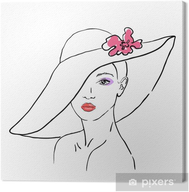 Obraz na płótnie Szkic kobiety w kapelusz z kwiatem - Moda