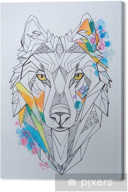Obraz na płótnie Szkic wilka na białym tle. geometryczny rysunek głowy wilka. - Hobby i rozrywka