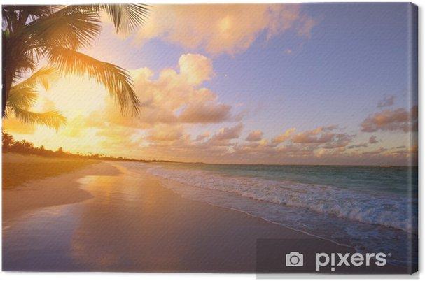 Obraz na płótnie Sztuki piękne wschód słońca nad tropikalnej plaży - Tematy