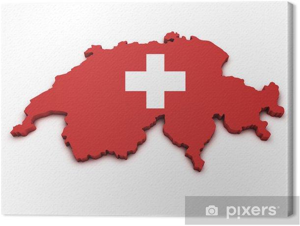Obraz na płótnie Szwajcaria Flaga Kształt Map - Europa