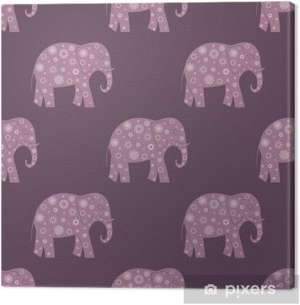 Obraz na płótnie Szwu z słonie i kwiaty. tło dla tekstyliów, chrzciny, karty z pozdrowieniami, owijania. kwiatowy ornament. - Zwierzęta